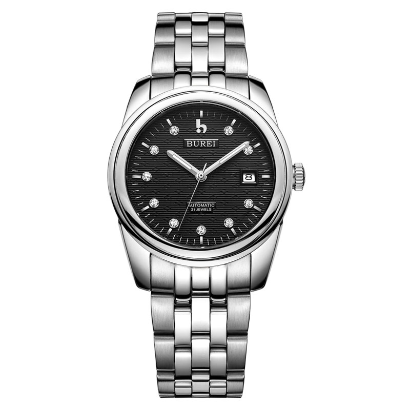 BUREI 5010 Switzerland watches men luxury brand oyster perpetual datejust diamond automatic self-wind black stainless steel