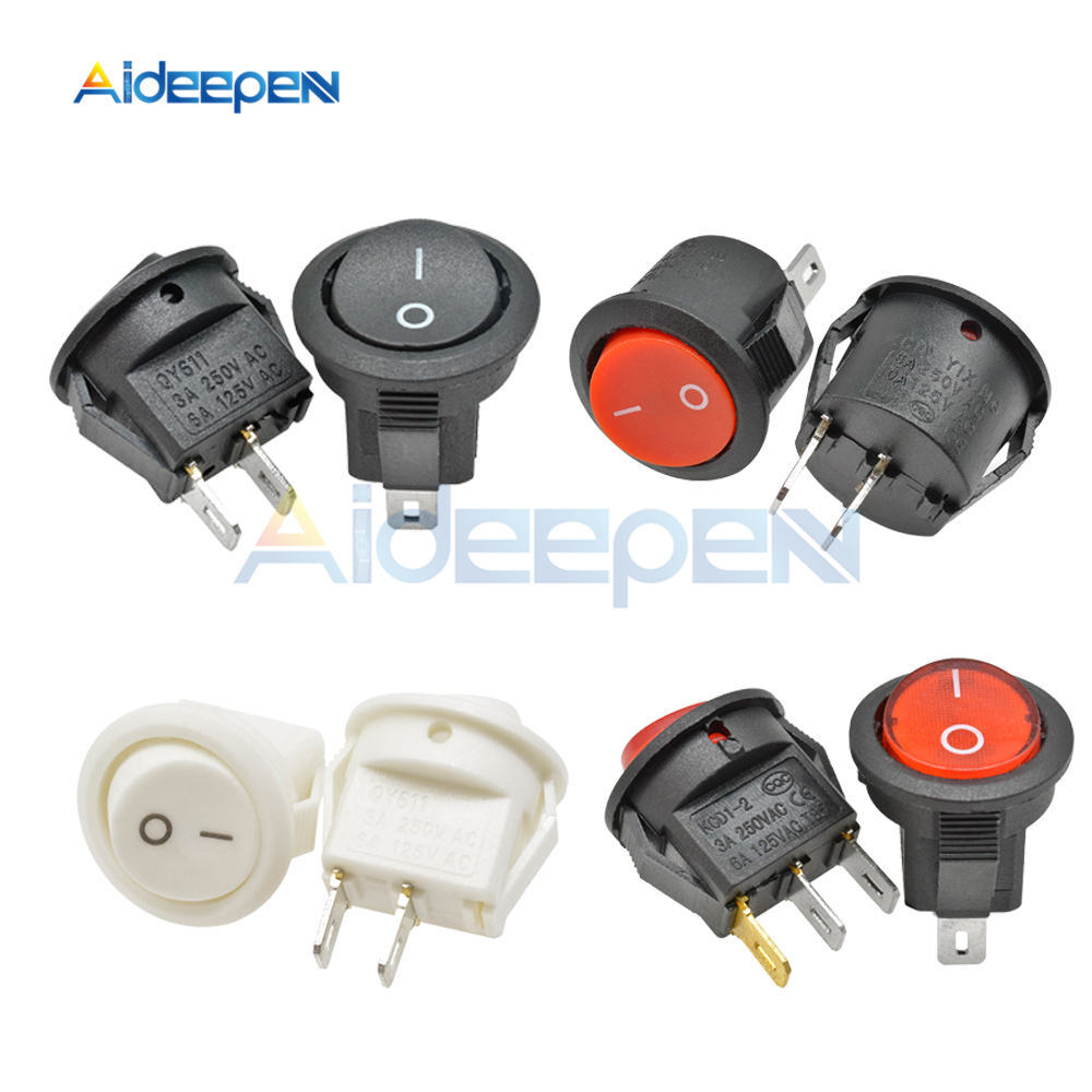 5 PCS KCD1 Kleine Runde Rocker Schalter Durchmesser 15 MM Wippe Power Boot <font><b>Switch</b></font> ON-OFF 2 <font><b>Pin</b></font> <font><b>3</b></font> <font><b>pin</b></font> 3A/250 V 6A/125 V AC image