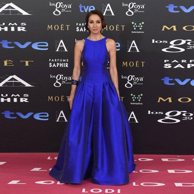 4becd22b01 Gala Red Carpet Royal Blue Evening Dress With Scoop Neckline A-line Draped  Floor Length Long Satin Celebrity Evening Dress