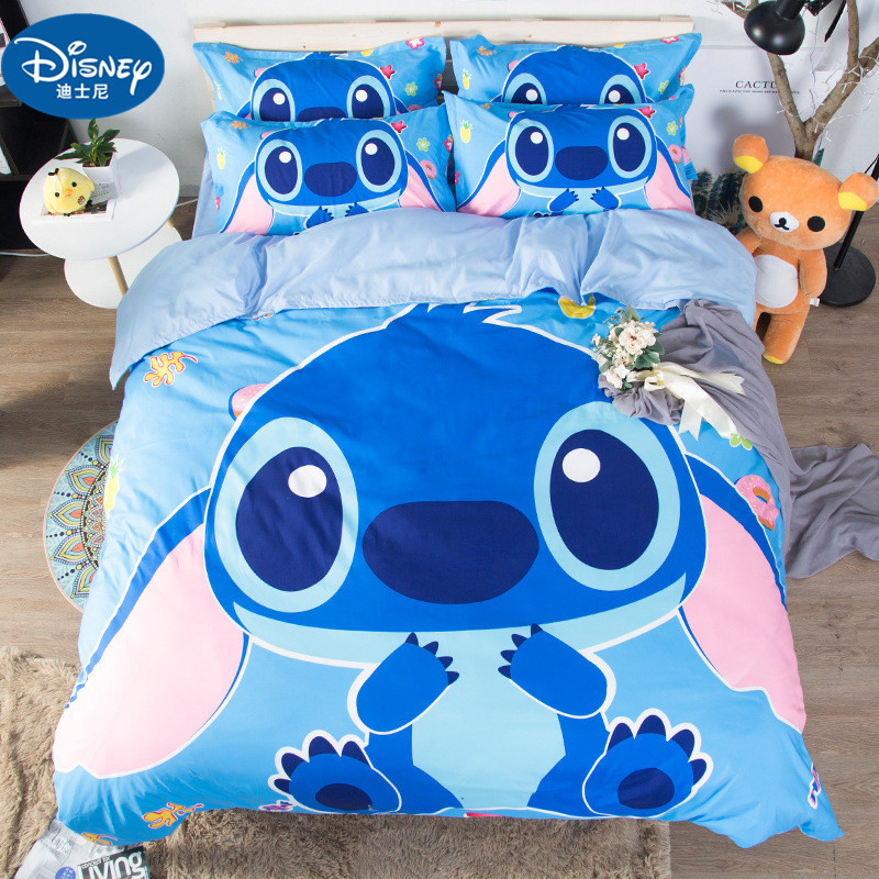 Disney Stitch Boys Bedding Sets Twin Queen Cartoon Quilt Cover Pillowcase  Blue Bed Linen Duvet Cover Set For Children Bed