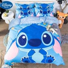 Disney Stitch Boys Bedding Sets Twin Queen Cartoon Quilt Cover Pillowcase  Blue Bed Linen Duvet Set for Children