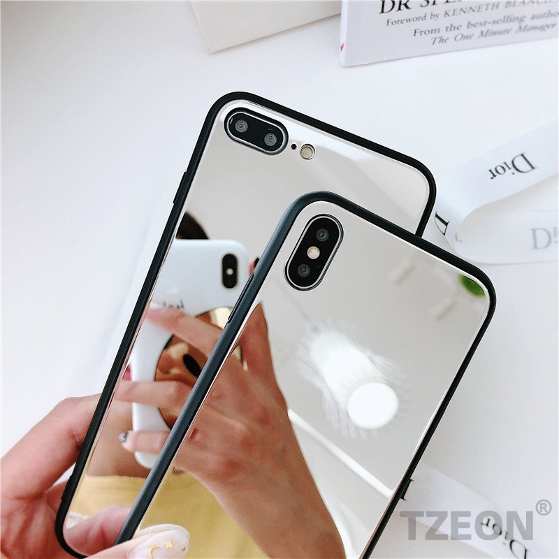 promo code b46b7 f8a27 Aliexpress.com : Buy Silver Mirror Phone Case for iPhone X 7 8 6s Plus  Glossy Makeup Mirror Selfie Tempered glass hard Back Cover for Apple ayfon  10 ...