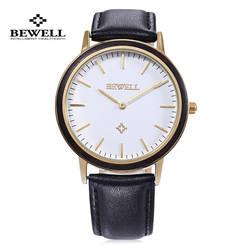 BEWELL Для мужчин женское платье кварцевые часы Элитный бренд Пояса из натуральной кожи наручные ногтей Форма Весы Японии Movt Relogio Masculino