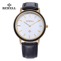 BEWELL Men Women Dress Quartz Watch Luxury Brand Genuine Leather Wristwatch Nail Shape Scale Japan Movt Relogio Masculino