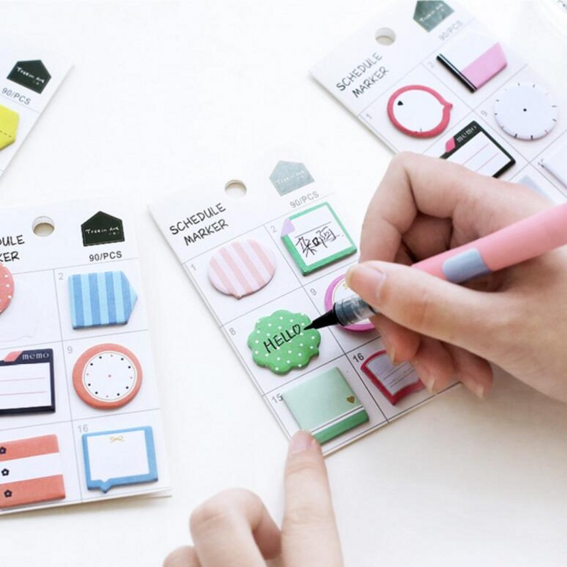 JUKUAI 1Pcs Fresh Style Schedule Marker Self-Adhesive Memo Pad Sticky Notes Post It Bookmark School Office Stationery Supply6190