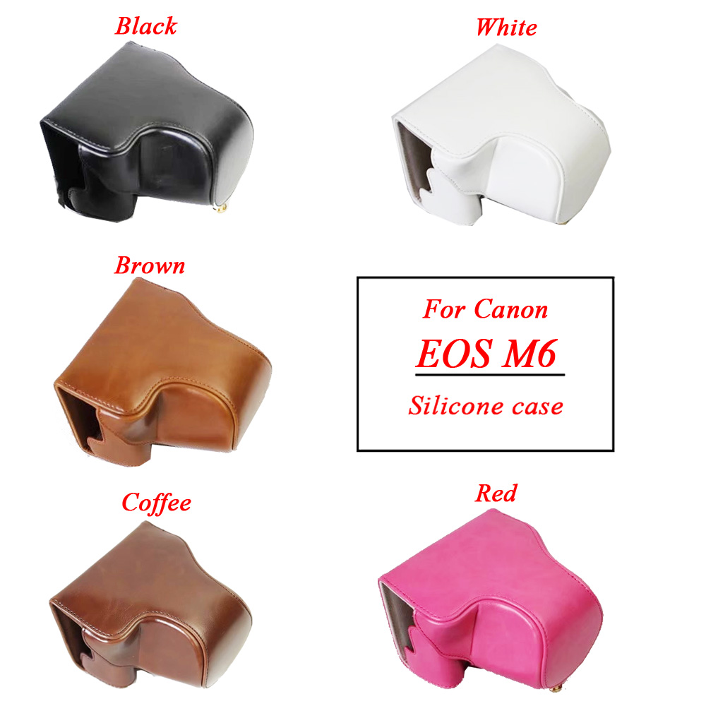 New Pu Leather Camera Case Bag For Canon EOS M6 EOSM6 EOSM 6 15 45mm Lens
