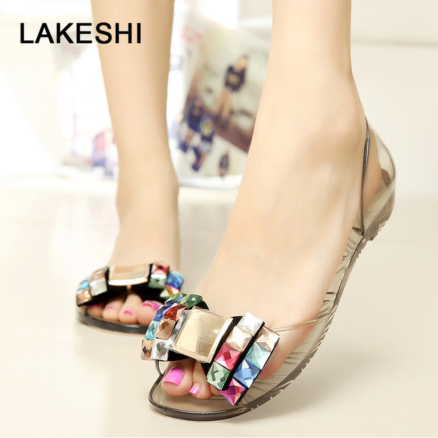 69cf44e1f354f6 LAKESHI Jelly Shoes Flower Women Sandals Flip Flops Summer Beach Sandals  Bow tie Ladies Shoes 2018 Casual Peep Toe Flat Shoes