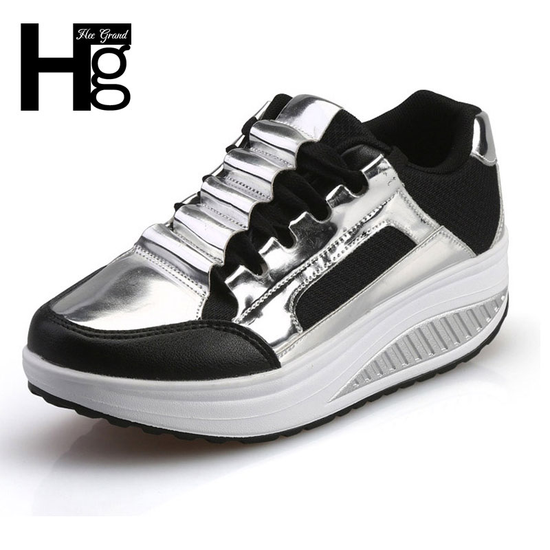 HEE GRAND Silver Platform Shoes Woman 2017 Autumn Spring Slip On Casual Women Shoes Round Toe Flats Size 35-40 XWD4285 hee grand summer gladiator sandals 2017 new platform flip flops flowers flats casual slip on shoes flat woman size 35 41 xwz3651