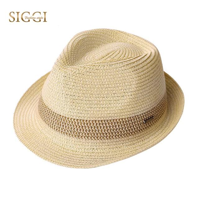 SIGGI Unisex Men Straw Fedora Sun Hat Women Packable Summer Panama Beach  Hats Trilby Adjustable Fashion Casual Short Brim 16010 4ca1b67e31df
