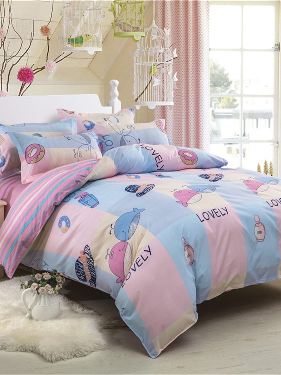 4Pcs Home Linen Set Cartoon Animal Pattern Soft Comfy Fresh Style Beddings 4Pcs Home Linen Set Cartoon Animal Pattern Soft Comfy Fresh Style Beddings
