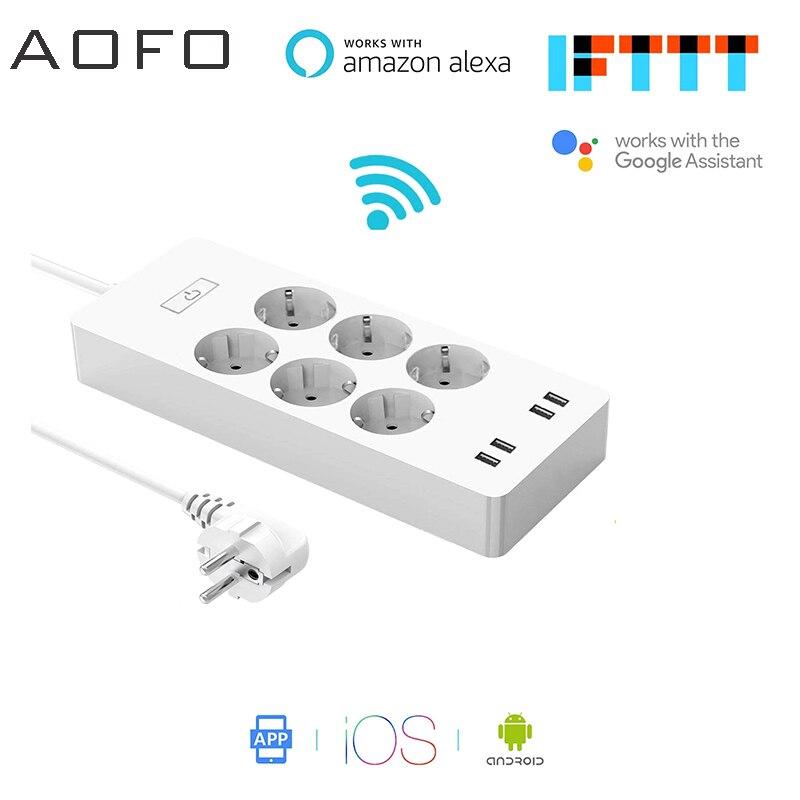 AOFO WiFi Smart Power Striscia Presa UE Surge Protector con 6 4 Porta USB Smart Home, Casa Intelligente, casa Intelligente Interruttore di Controllo C
