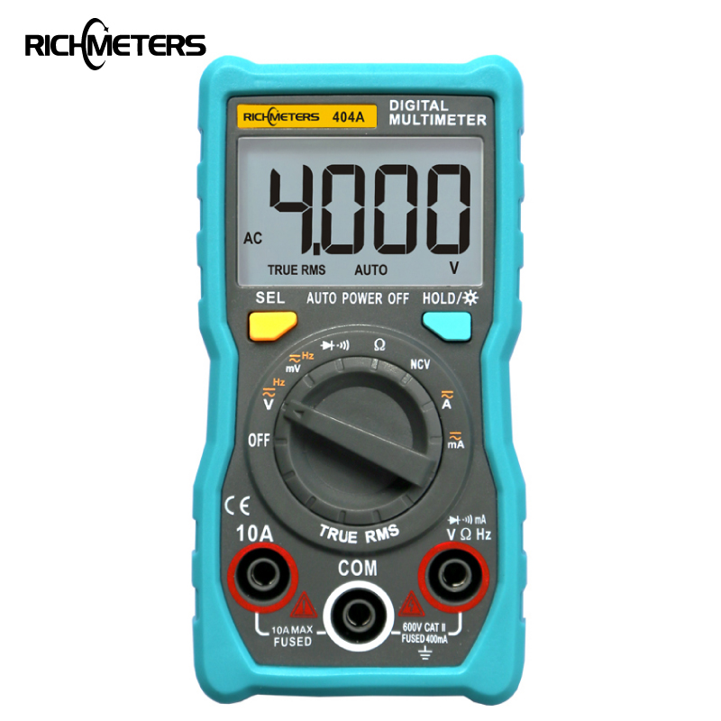 RICHMETERS 404A Digital Multimeter Auto-Ranging True-RMS intelligente NCV 4000 Zählt AC/DC Spannung Strom 40 M Ohm