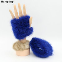 Harppihop Hand Made Knitted Fur Fabric Mink Fur Glove Gloves Mittens Mit Handwear