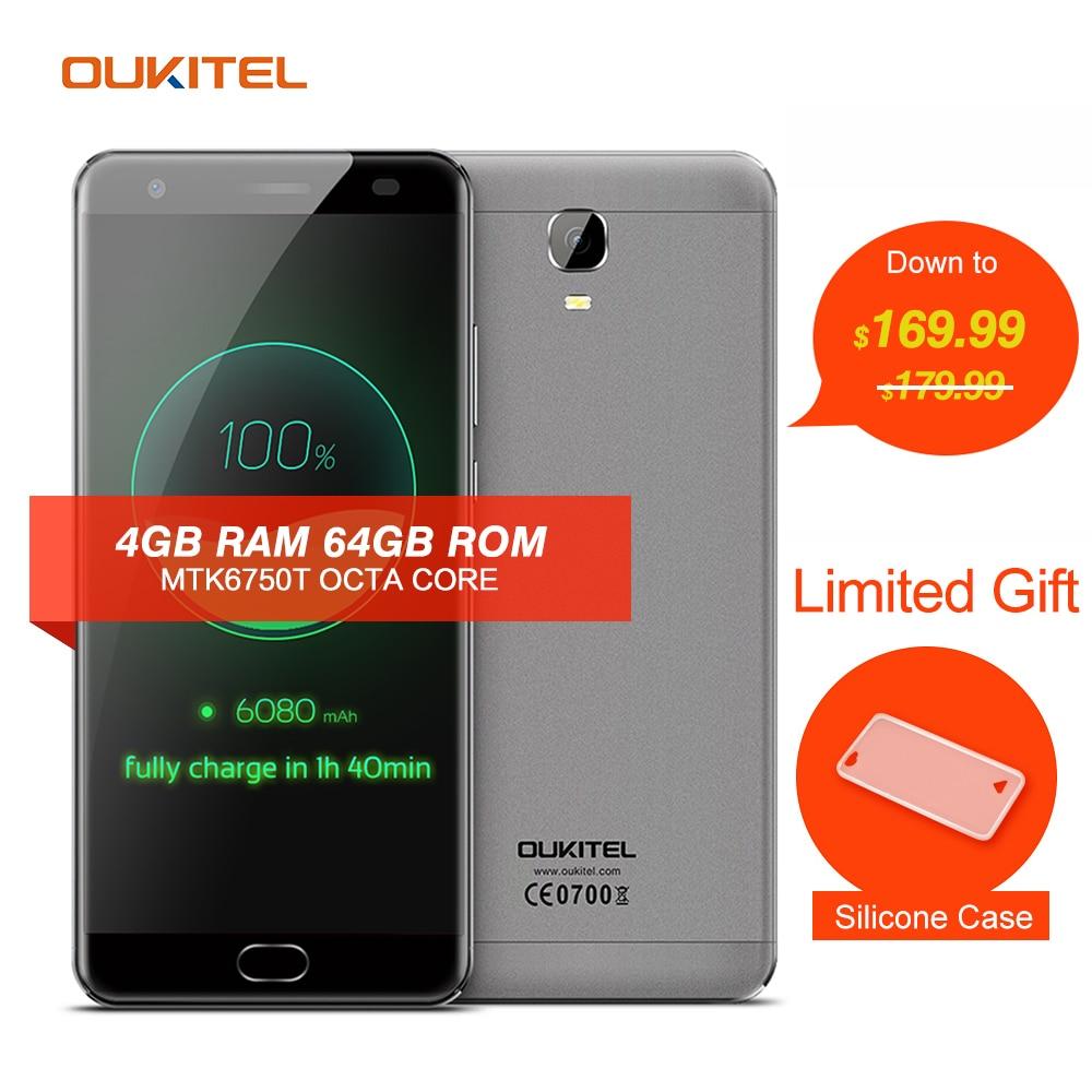 Цена за Oukitel k6000 плюс мобильного телефона 5.5 ''4g android 7.0 mtk6750t окта основные 1.5 ГГц 4 ГБ ram 64 ГБ rom 8.0mp + 16.0mp 6080 мАч смартфон