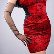 Lace Mesh Gloves Ultra Thin Long Fashion Elegant Lady Evening Vestido Touchscreen Women Mittens TB31
