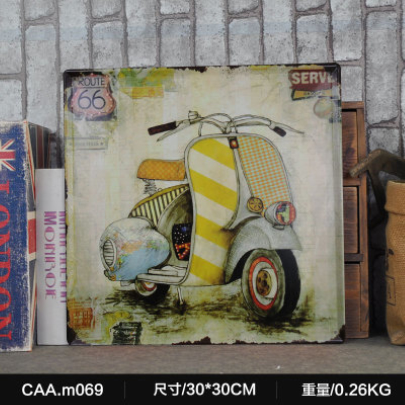 ROUTE 66 Motorcyle Large Vintage Metal Painting Poster Wall Sticker Tin Sign Retro Iron Art Bar Cafe Wall Decoration 30X30 CM
