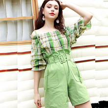 2 Pcs Clothing Set Women Summer Slash Neck Plaid Green Crop Blouses Tops And Ove