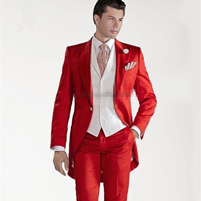Custom Design Frac Rosso Smoking Dello Sposo Picco Risvolto Uomini Migliori Abito  da Sposa Prom Festa a4e966f271b2