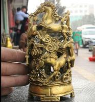 6711159132++Chinese Brass Auspicious Horses Brush Pot Pencil Vase Statue Sculpture