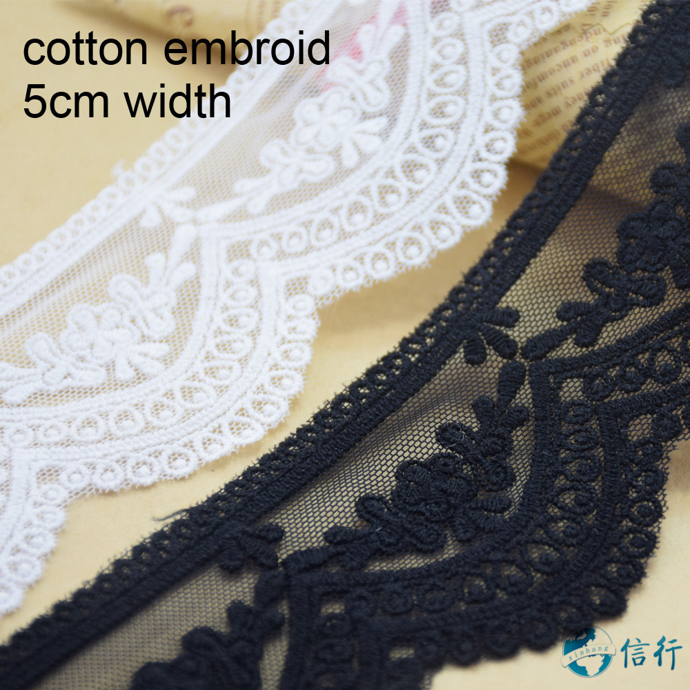 5cm 2 colors cotton embroided lace ribbon guipure trim fabric DIY sewing Accessories supplies african french lace applique #3545