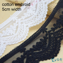 5cm 2 colors cotton embroided lace ribbon guipure trim fabric DIY sewing Accessories supplies african french applique #3545