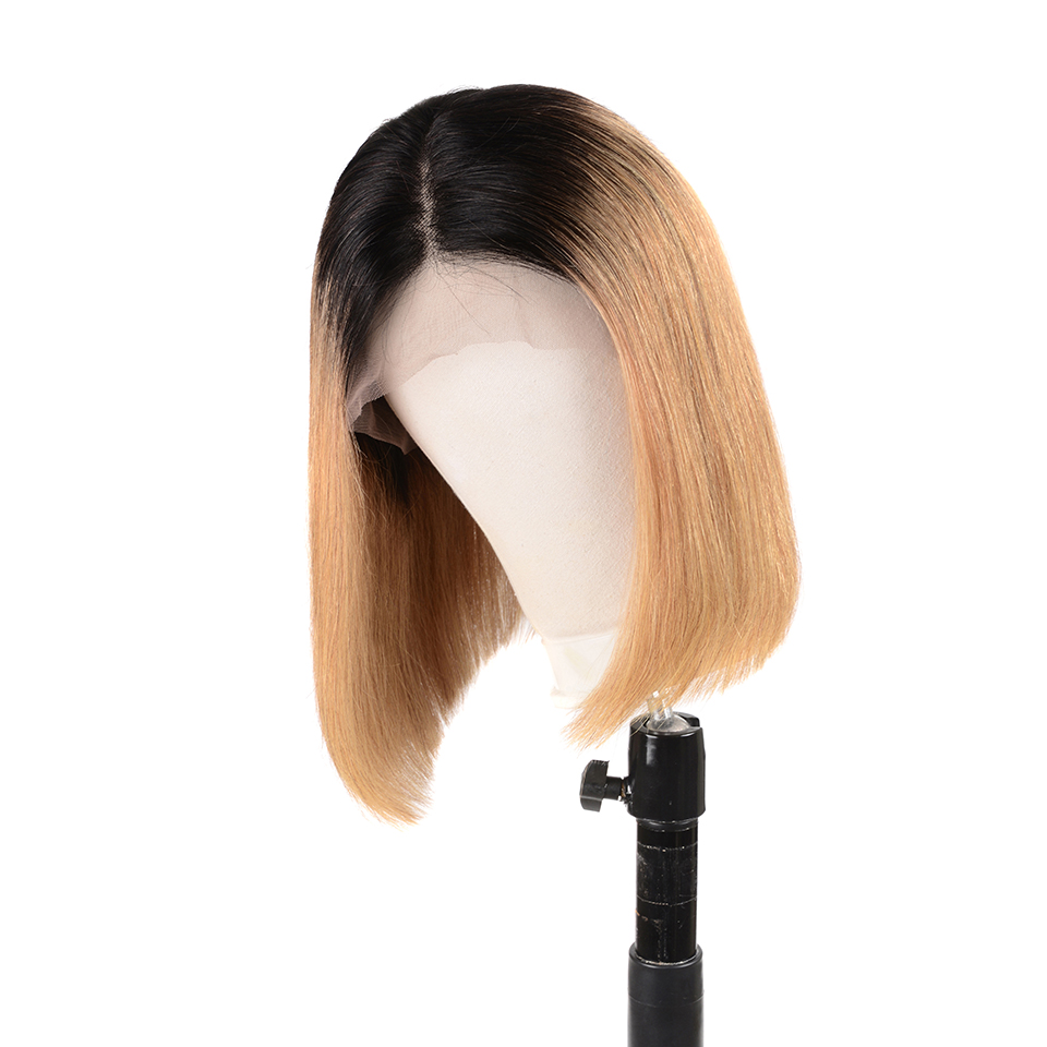 Cheap Straight Human Hair Remy Bob Wigs For Black Women Brazilian Lace Front Wigs 1B 27 Honey Blonde 13x6 Swiss Lace Wig(China)