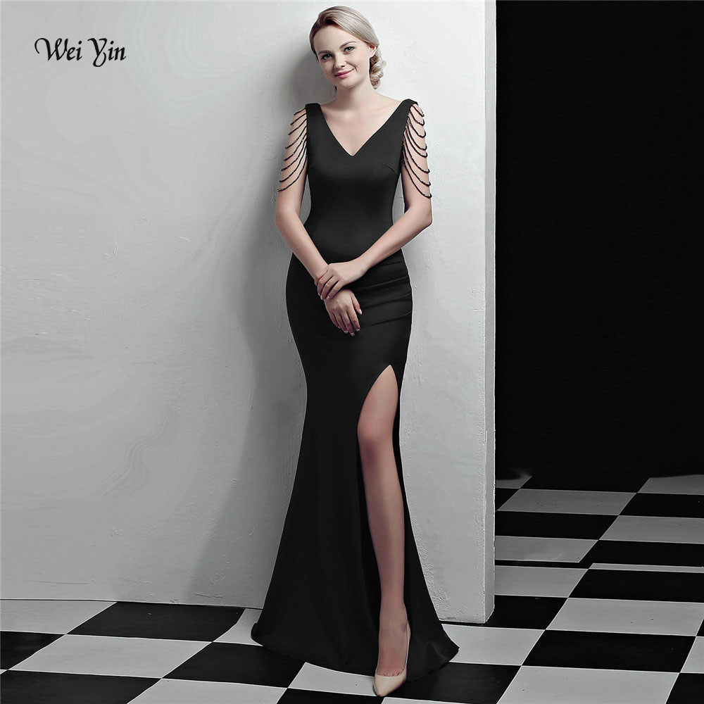 weiyin Black Long   Evening     Dresses   Elegant Crystal Mermaid Pleated Leg Split Sexy Formal Party Gowns WY1026