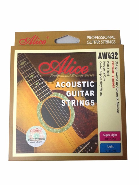 Alice AW432P Super Light Acoustic Guitar Strings Hexagonal Core Coated Copper Alloy Wound 11-52, Single Strings Available