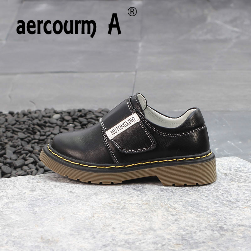 Aercourm A 2018 New Children Genuine Leather Shoes Spring Children Casual Shoes Boys Girls Soft Bottom Solid Color Casual Shoes