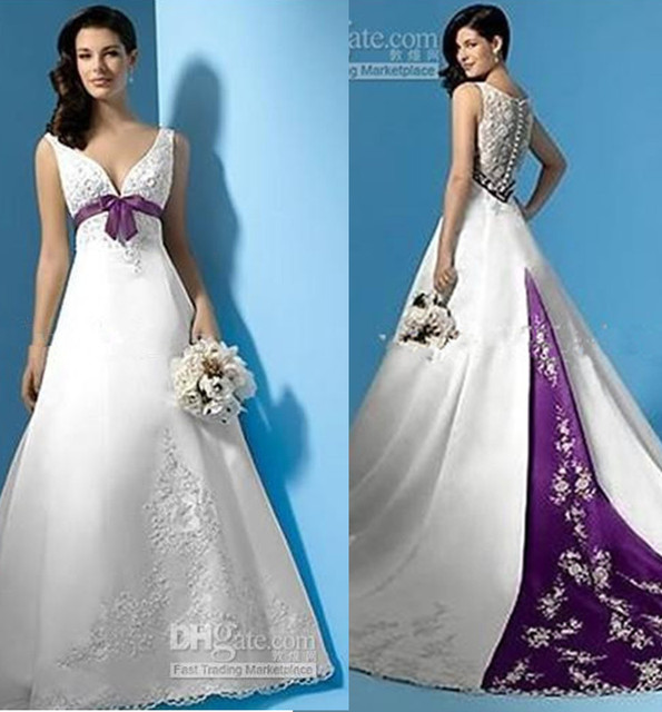 63a90db78c085 Ho Sale Empire Waist Beaded Appliques Satin A-Line White and Purple Custom  Made Sbridal gown 2018 mother of the bride dresses