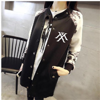 KPOP Baseball Jacket Long sleeved 2017 k pop monsta x early autumn students should aid baseball uniform k pop Clothing moletom