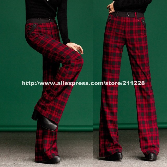 Best 2013 New Fashion Style Autumn Winter Womens Red Plaid Patchwork  QU58