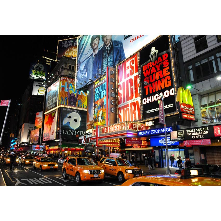 Hot Sale New York Night View Photography Background Orange Taxis