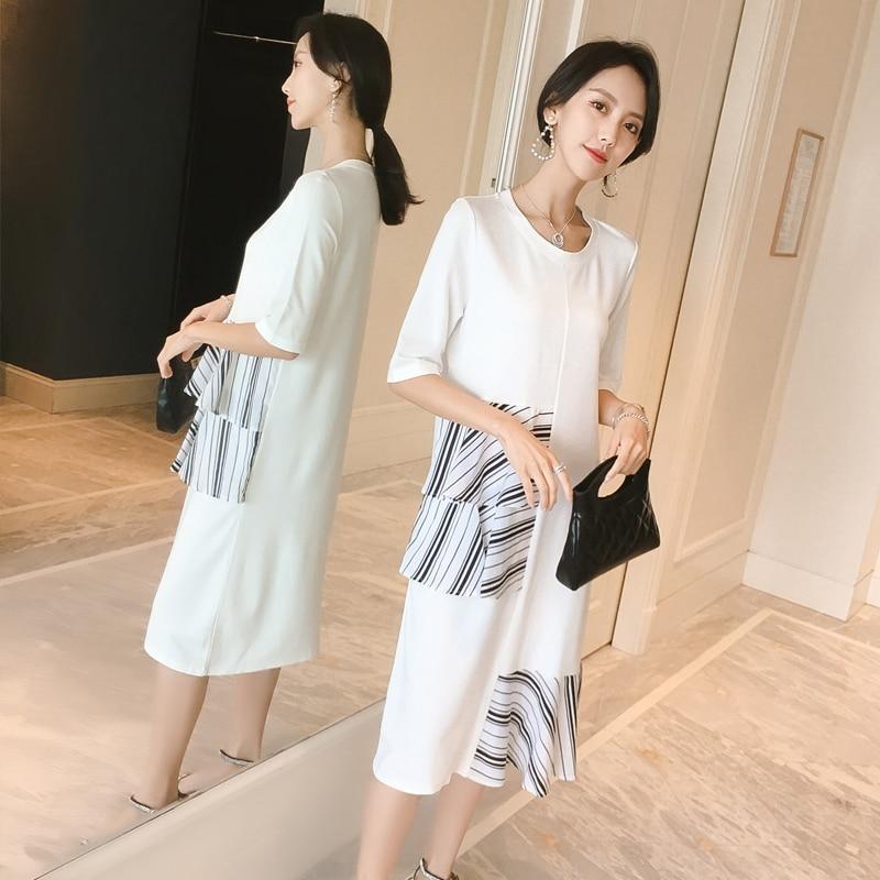 Белое хлопковое платье для беременных Беременность ухода за кожей для будущих мам Для женщин леди Vestidos, сшитый внахлест, Для летних вечерин...
