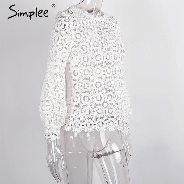 Simplee Elegant floral chic lace blouse shirt Women lantern sleeve back zipper white blouse hollow out short top blouse blusas