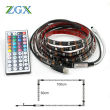 DC 5V USB Led strip light lamp SMD 5050 Flexible ribbon tape 2M Christmas waterproof Decor PC/TV background with 44K Controller