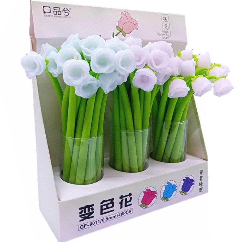 Ofis ve Okul Malzemeleri'ten Jel Kalemler'de 48 adet/grup Yaratıcı kırtasiye jel kalem gül çiçek renk değişimi silikon 0.5mm siyah mürekkep öğrenci okul ofis düğün kalemler'da  Grup 2