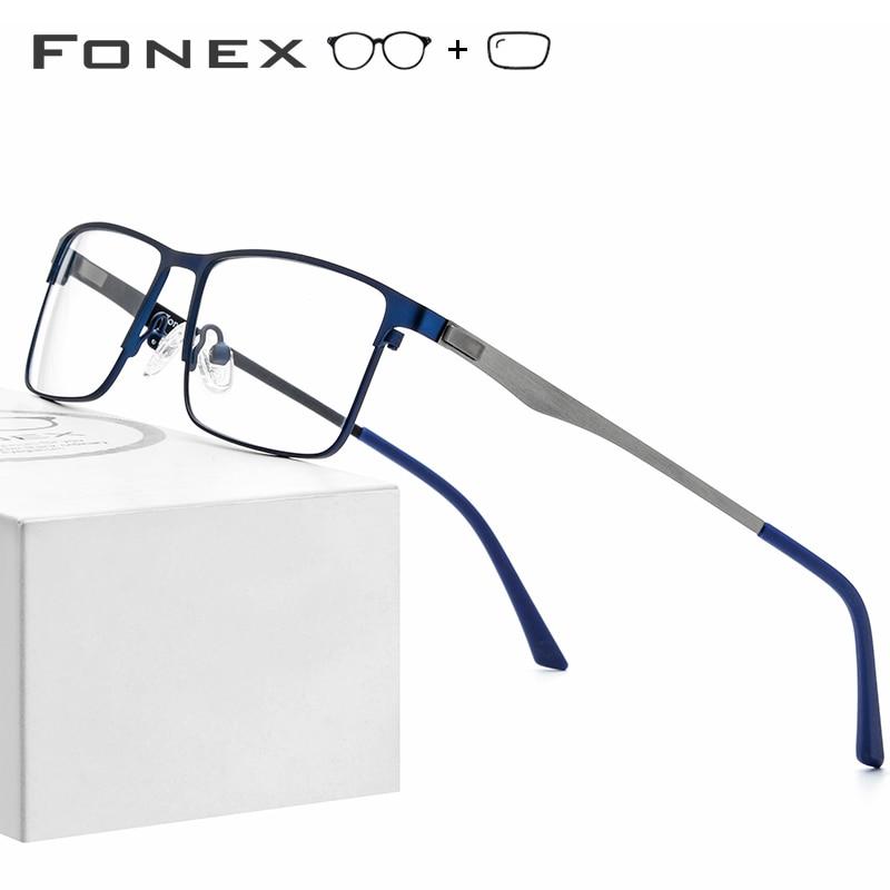 FONEX Alloy Prescription Glasses Frame Men Square Myopia Eyeglasses 2019 Male Metal Full Optical Frames Korea Screwless Eyewear