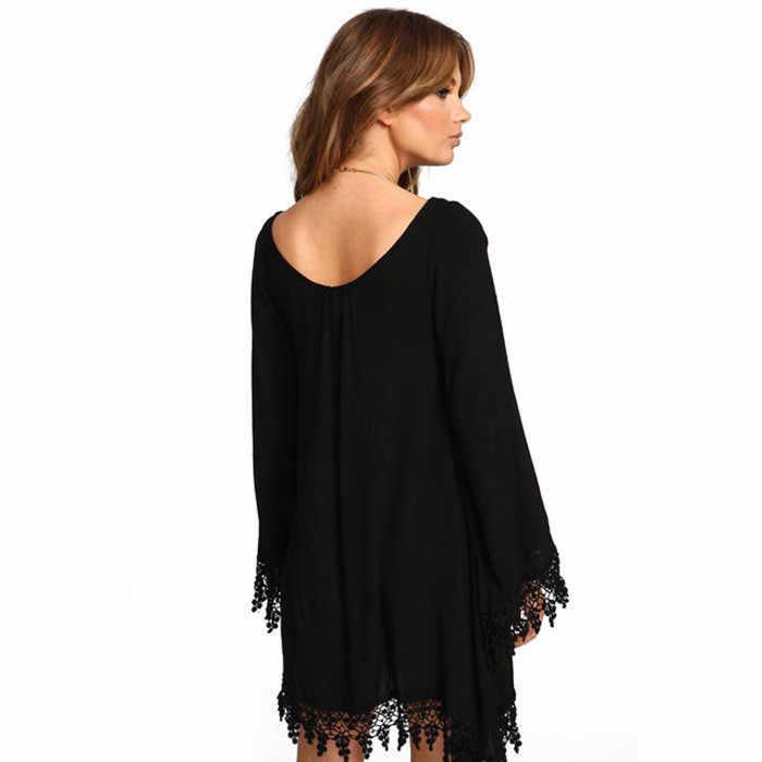 TEXIWAS плюс размер S-6XL модное черное платье с кисточками и длинными рукавами женское шифоновое свободное платье с круглым вырезом женское асимметричное платье
