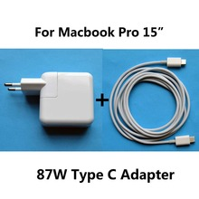 New 20.2V 4.3A 87W Power Adapter Charger USB-C Type C Cable Charger For Macbook Pro 15 Inch binful 87w usb c power adapter charger for macbook 121315 inch with 1m type c cable for lightning apple iphone x 8 7 6 plus