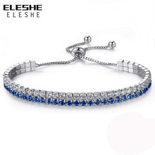 ELESHE Blue & White Cubic Zirconia Tennis Bracelet & Bangles For Women New Year Gifts New Fashion Lady Jewelry Pulseras Mujer(China)