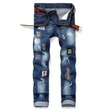 patch hole embroider Men Jeans Dark Blue Denim Stripe Jeans Men Pants  Buttons Motor Biker Jeans Men Street Ripped Jeans 0E200