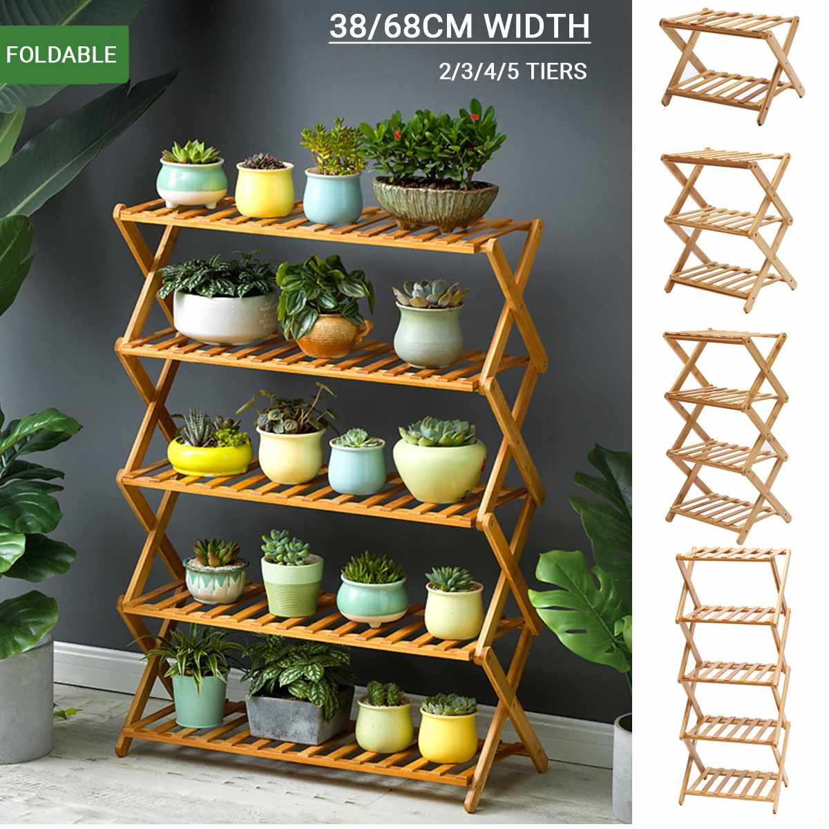 2/3/4/5 Tiers Foldable Natural Plant Stand Flower Pot Decor Shelf Garden Balcony Planter Flower Pot Tray Display Rack