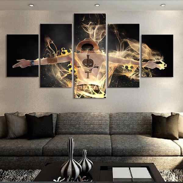 5 Pieces Canvas Art One piece Anime Modern Decorative Paintings on Canvas Wall Art for Home Decorations Wall Decor