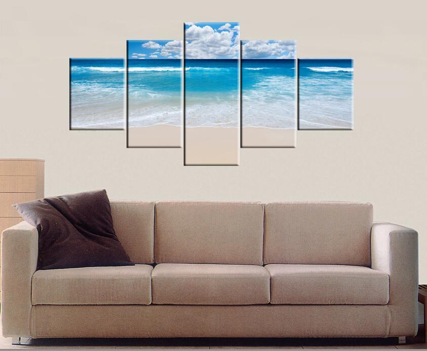 unidades moderna impreso pintura decorativa casera artes del lienzo impresiones de arte de la pared grande hd mar y playa sin