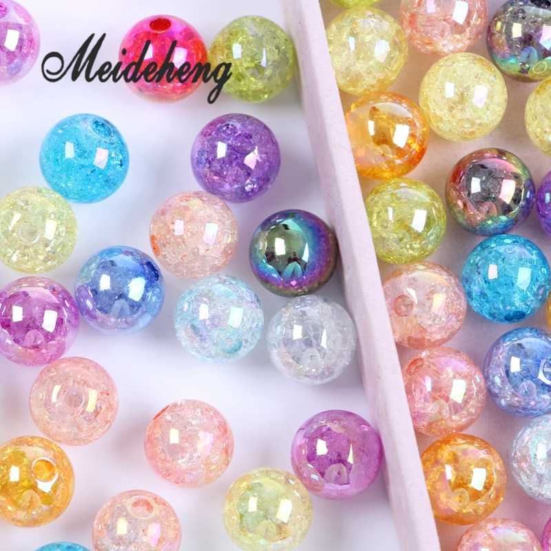 6b82f9dad02d7 Acrylic Big Hole AB Color Plating Color Rainbow Surface Crack Popping Beads  DIY Jewelry Making Hair Band Headwear Accessories
