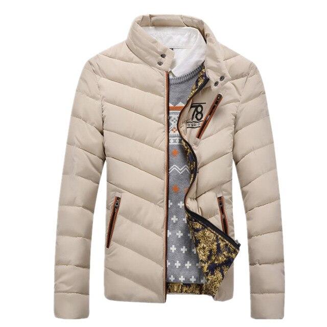 2017 New Arrival Homens Inverno jaqueta Qulited Quente Outwear ocasional dos homens Para Baixo Casaco Grosso Parkas Jaqueta Moda Masculina Sólida