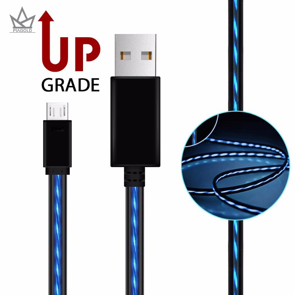 PIAGOLD Micro USB Cable AoliPlus Visible Flowing EL Light LED Charging Cords USB 2 0 A