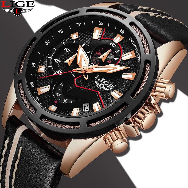 2018 New Watch Fashion Brand LIGE Men Leather Business Date Chronograph Quartz-Watch Male Gift Quartz Clock Relogio Masculino цена
