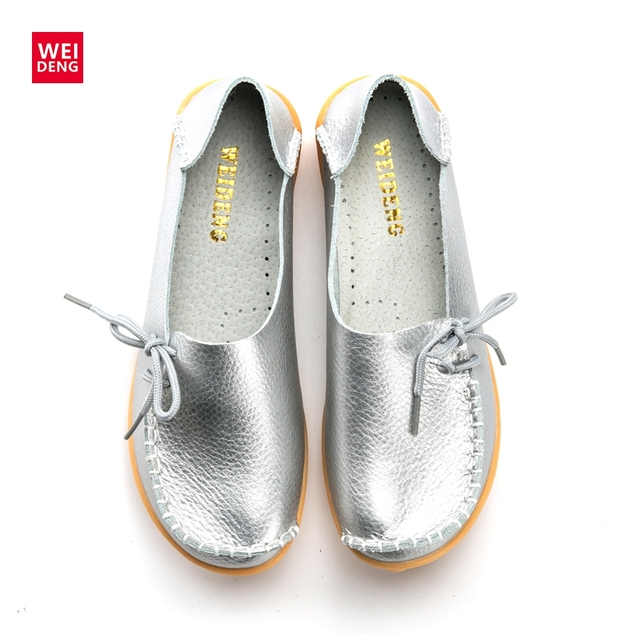 9388b33783e WeiDeng Women Genuine Leather Flat Moccasin Loafer Casual Ladies Slip On  Cow Driving Fashion Ballet Boat Summer 2018 Shoes